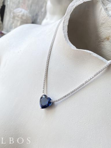 Колье синее сердце с камнями
