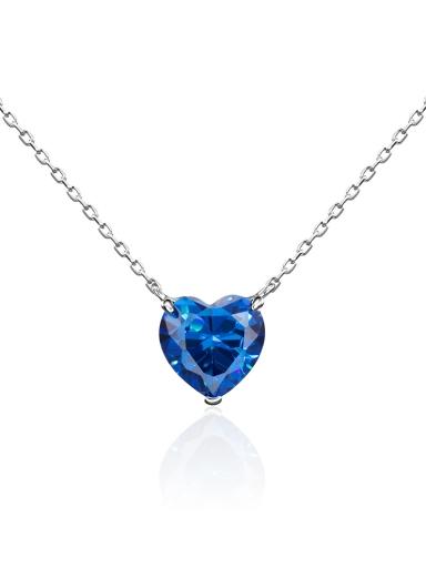 Колье сердце синий камень