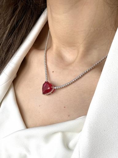 Колье сердце красное