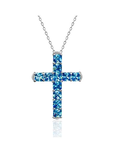 Крест с квадратными камнями голубой