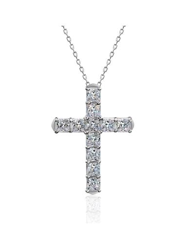Крест с квадратными камнями белый