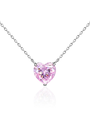 Колье сердце розовое