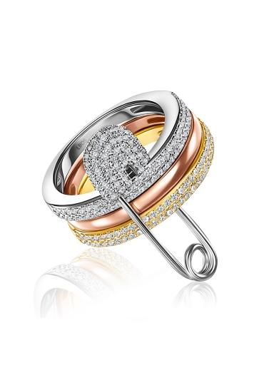Кольцо с булавкой цветное