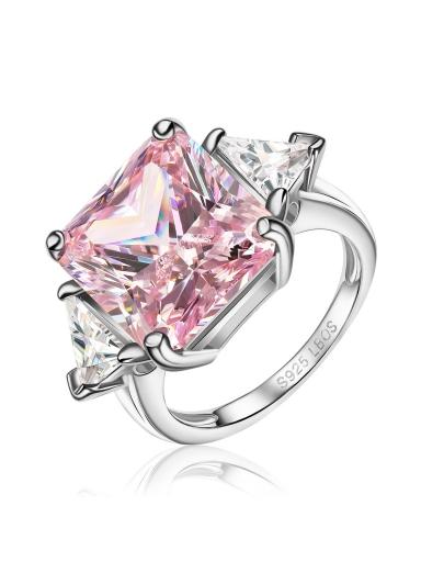 Кольцо розовое квадрат
