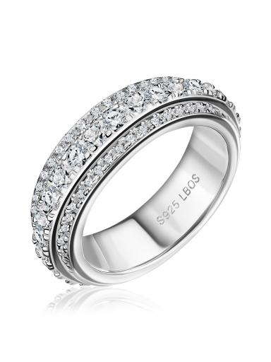 Механическое кольцо тонкое с камнями