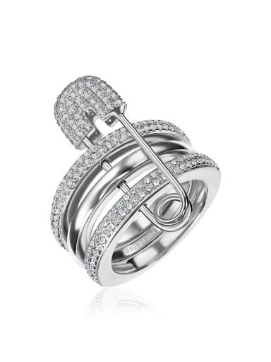 Кольцо с булавкой белое