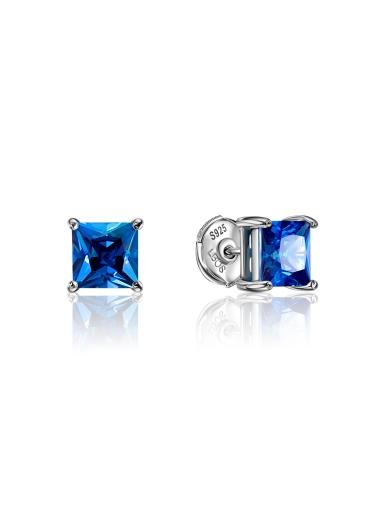 Серьги-пусеты синий квадрат