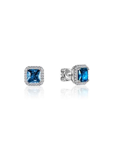 Серьги-пусеты синие квадрат