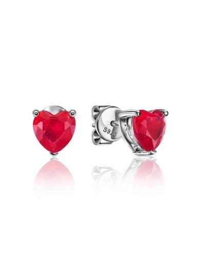 Серьги-пусеты сердце красные