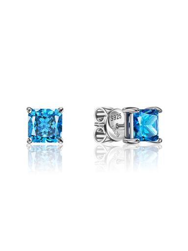 Серьги-пусеты квадрат голубые